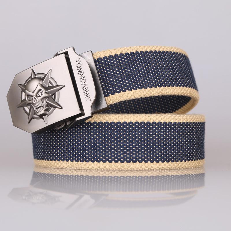 mens belts luxury Canvas belt spot wholesale skull automatic buckle men's canvas belt cloth belt webbing male leisure sports(China (Mainland))