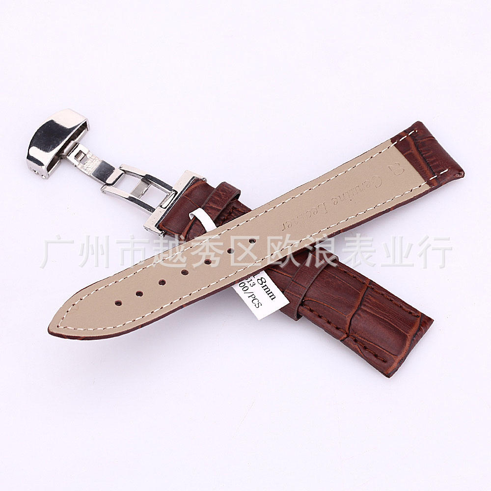 Гаджет  18-24mm Band Strap Butterfly Pattern Deployant Clasp Buckle+ Leather Watch None Ювелирные изделия и часы