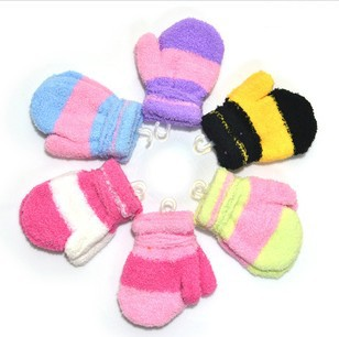 Hot Selling 2013 Winter Warmer Children's glove Soft Wool Strips Gloves 1-3 Year Kids Glove 10 Pairs /Lot - families paradise store