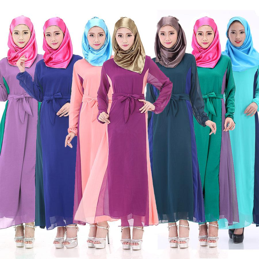 womens bandage dresses side patchwork muslim robe 2016 Saudi Arabia chiffon long clothing musulmane islamic jilbabs and abayas(China (Mainland))