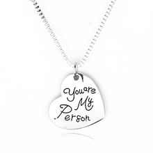 Engraved Grey Anatomy Necklace Hot Sales Letter You Are My Person, You Will Always Be My Person Pendant Necklace BFF Gifts(China (Mainland))