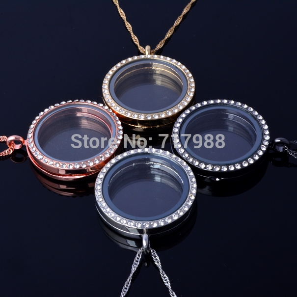 30 MM Round magnetic glass floating charm locket pendant floating locket with chain necklace(chains included for free)(China (Mainland))