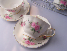 Hand Painted Pink Flower Cups and Saucers Bone China 15 Piece Cool Coffee Mugs English Teapot