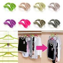 Random Colors!!! 10 pcs Home Creative Mini Flocking Clothes Hanger Easy Hook Closet Organizer HG-1964(China (Mainland))