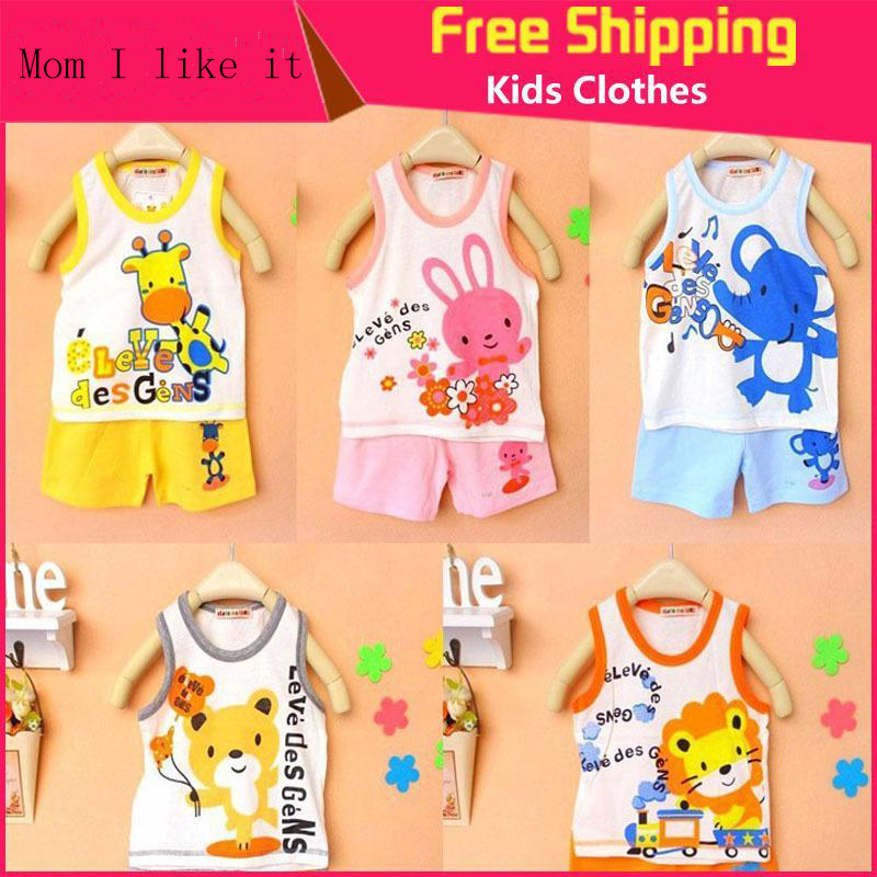 Brand New Children's Set Baby Kid's t-shirts For Girls Boys Clothes t shirt+pants Undershirt Shorts Clothing Set(China (Mainland))