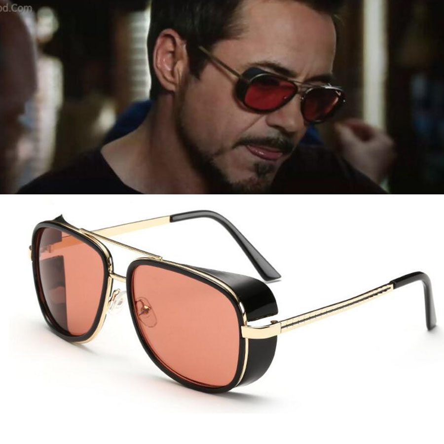 Brand Italy Design Iron Man 3 Movie Tony Stark Superstar Matsudas Punk with Side Shields Protection Sunglasses HD Men or Women(China (Mainland))