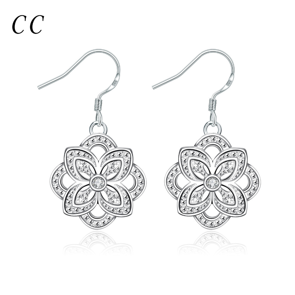 Silver plated fashion jewelry for women beautiful flower shape drop earrings for female gift bijoux wholesale CCNE0362(China (Mainland))