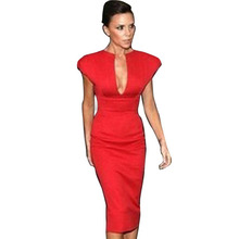 New Fashion Elegant Seleb V-Neck Sleeveless Knee-length Temperament Charm Stretch Bodycon Party Cocktail Women Dresses(China (Mainland))