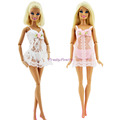 2 Sets Pink White Sexy Pajamas Lingerie Nightwear Lace Night Dress Bra Underwear Clothes For Barbie