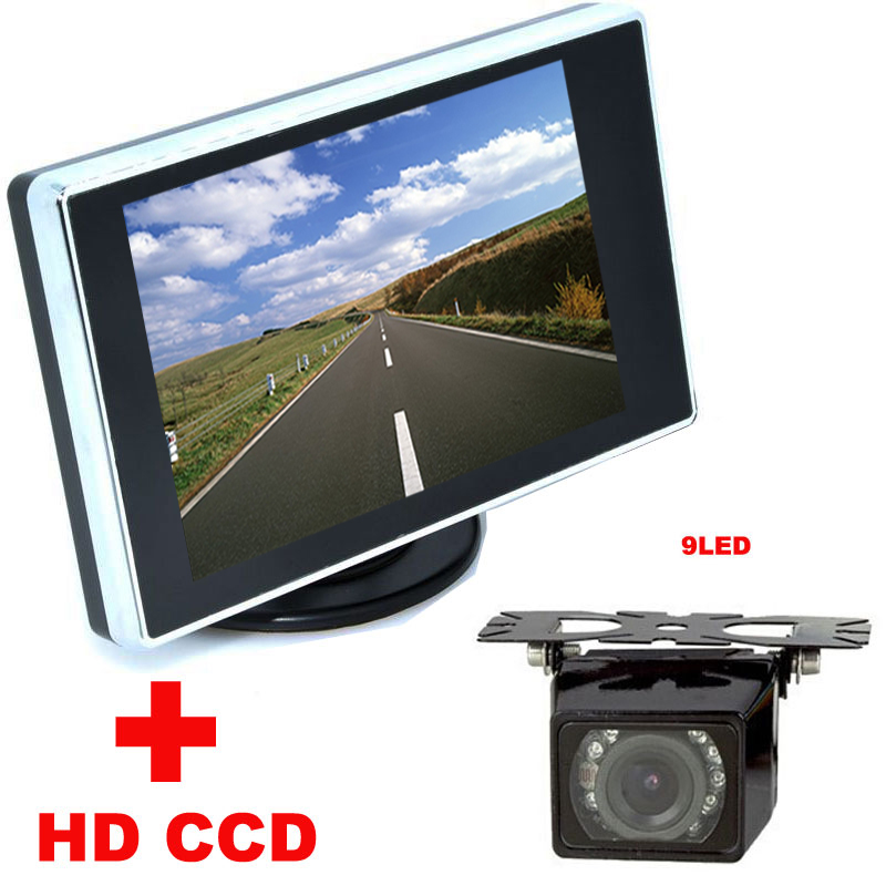 2 in 1 Auto Parking Assistance system 9LED Car CCD Rear View Rearview Camera With 3.5 inch LCD Car Video Monitor backup Camera(China (Mainland))