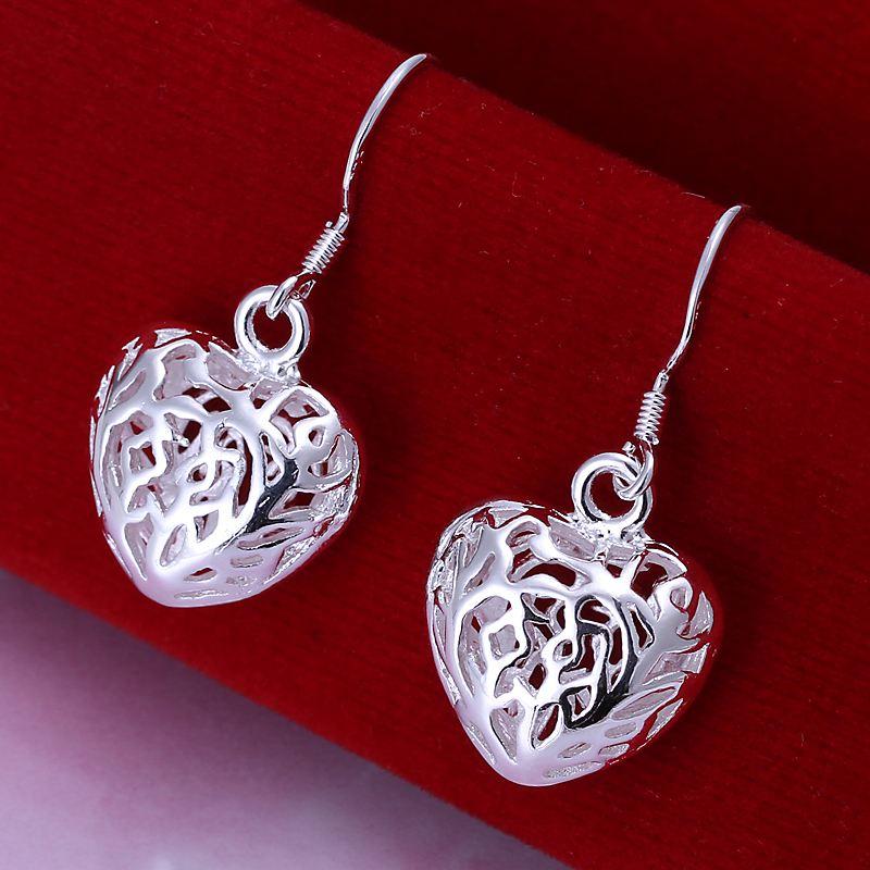 Гаджет  Factory price top quaility 925 sterling silver jewelry earring fashion inlay hollow heart drop earrings free shipping SMTE021 None Ювелирные изделия и часы