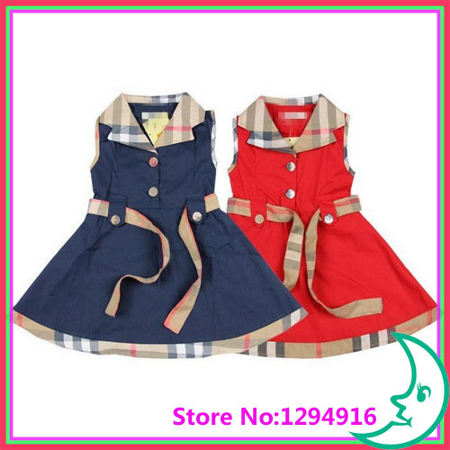 Girls clothes plaid tennis dresses,grils dresses with belt 5pcs/lot + Free Shipping(China (Mainland))