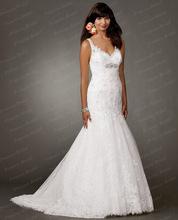 Discount Best Price Bridal Dress Sale Mermaid V Neckline Sweep Train Wedding Dress Online With Appliques BN415(China (Mainland))