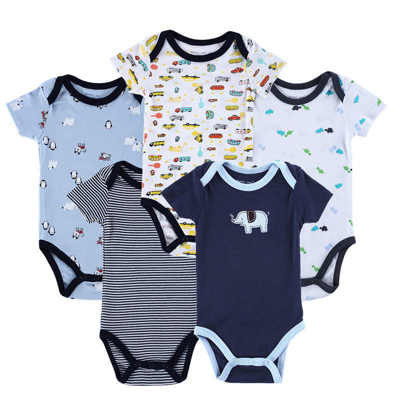 New 2015 Newborn Baby Boy Spring Clothing Sets 100% Cotton 5PCS/LOT Infants Jumpsuit Cute Animal Printed Baby Girls Clothes(China (Mainland))