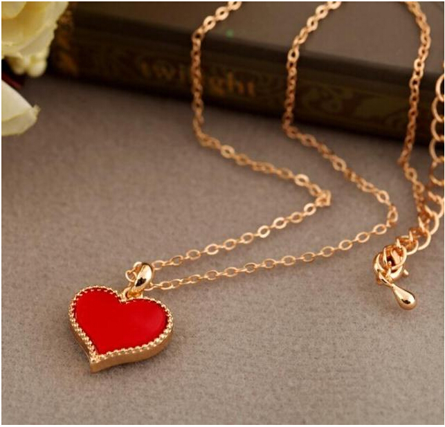 NK147 Fashion Hot New Gossip Girl Serena red hearts with love necklace clavicle chain models Wholesales(China (Mainland))