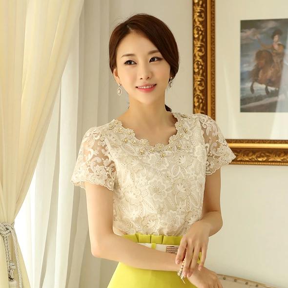 New 2016 Summer Fashion Korean Style Elegant Office Shirts Short Sleeve Beading And Crochet Women Lace Blouse Womens Tops 89B3(China (Mainland))