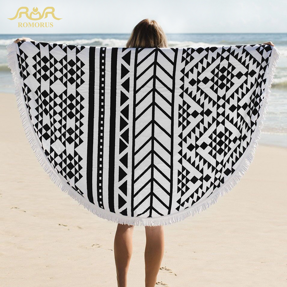 100% Cotton Brand Large Round Beach Towel with Tassels for Adults 150*150cm Geometric Printed Bath Swimming Microfiber Towels(China (Mainland))