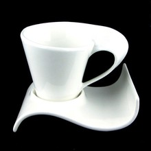 Free Shipping Creative characteristics of ceramic art Coffee white cup and saucer