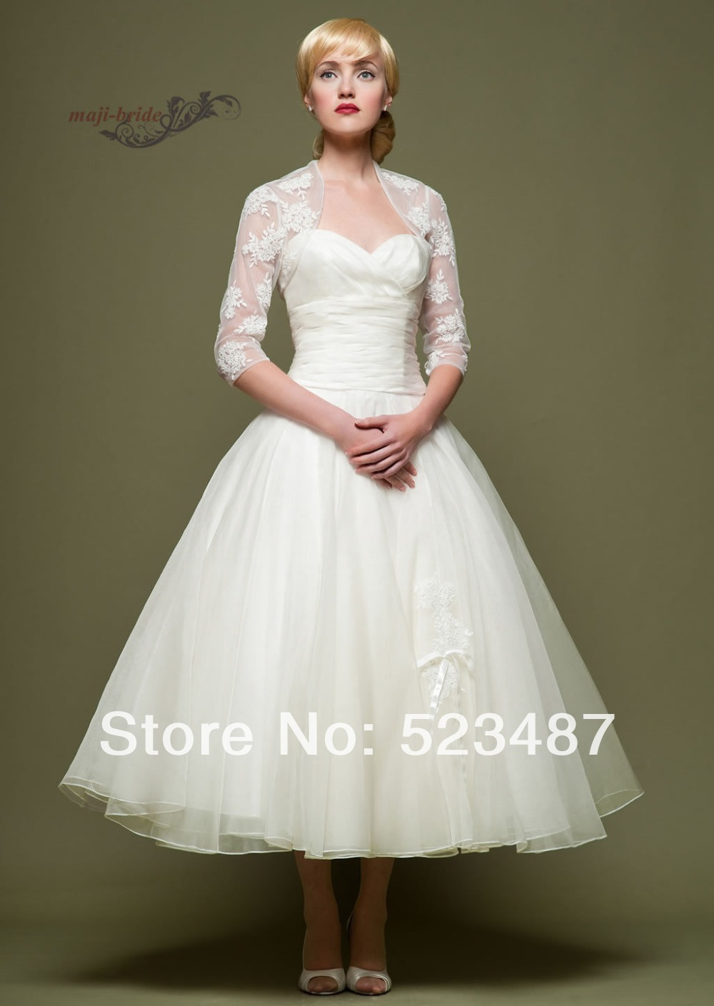 New vintage style custom 3 4 sleeve tea length wedding for Vintage wedding dresses tea length