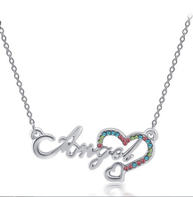 Women Girl Costume Jewelry Gift Boutique Gold Plated Hollow Letter Angel Love Heart Rhinestone Pendant Collar Choker Necklace(China (Mainland))