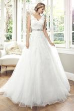 Robe De Mariage Wedding Dress Popular Vintage Backless Deep V Neck A-line wedding Gown With Sashes Custom Made Bridal Dress(China (Mainland))