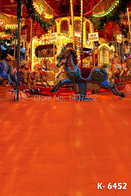 2014 new fashion 200CM*150CM backgrounds Christmas gifts photography backdrops photo night,Playground, lamp, carousel k-6452(China (Mainland))