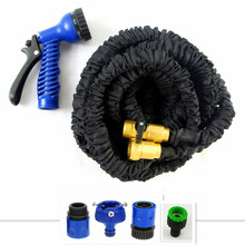 Free Shipping Double Latex Black Garden Hose Flexible 3 4 Inch Expandable Hose 25-150FT With Brass Fittings&Spray Gun Cheap(China (Mainland))