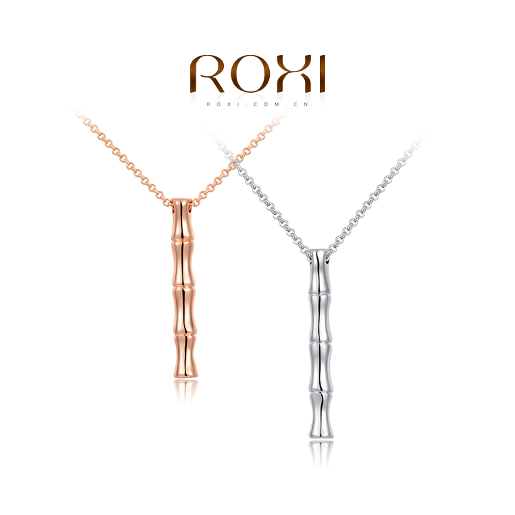 ROXI 18K Rose/ White Gold Plated Bamboo Necklace Women Fashion Designer Plant Pendant Jewelry Dallas Cowboys Jersey 2030517385(China (Mainland))