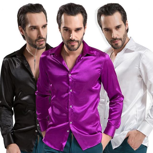 Новый 2016 мужчины твердые шелковые имитация рубашки с длинным рукавом мода тонкий ...