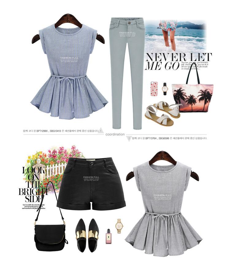 a9ecbbb4b087 2016 New Designer Women Summer Striped Blouses Maxi Plus Size 5XL  Sleeveless Corrugated Edge Office Casual Shirts Female Blouse - us639