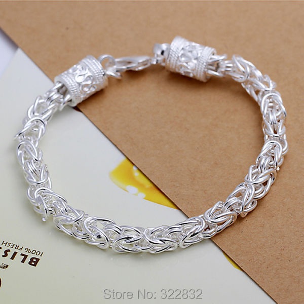 Unisex Fashion 925 sterling silver Men Male Mens women female China Luck loong Head Chain Link Bracelet Bangle gift box LK096(China (Mainland))