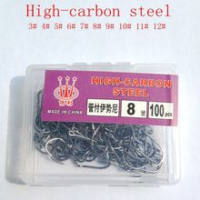 100Pcs fishing hooks(GF) #3-#12 High carbon steel CarbonBlack Bait Holder Fish Hook Set  High quality barbed