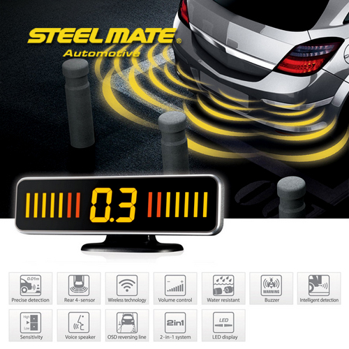 Steelmate PTS410M18 rear parking assist system with 4 sensors and M18 LED display with silver mental frame voice warning(China (Mainland))