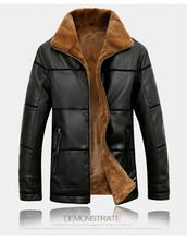 Leather Jacket Men Coats Winter Warm Motorcycle Leather Jacket Men's Fashion Luxury Leather Mens Fur Coat Distressed PU Jacket(China (Mainland))