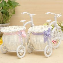 Modern Stylish Rattan Tricycle Bike Flower Basket Vase Storage Garden Wedding Party Decoration Office Bedroom Holding Candy Gift(China (Mainland))