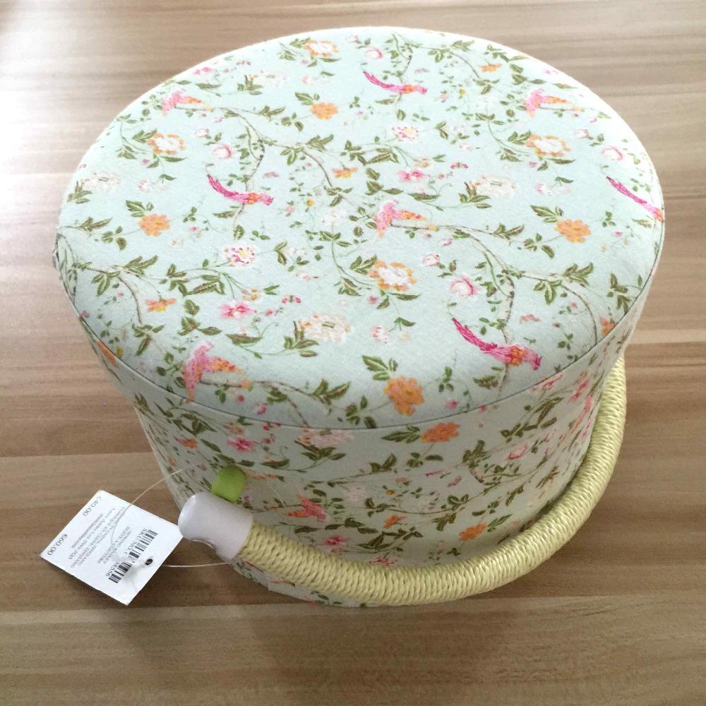 2015 Fashionable 100% Cotton Fabric sewing basket European Style Handmade Sewing Box Storage Basket Storage Box Freeshipping(China (Mainland))