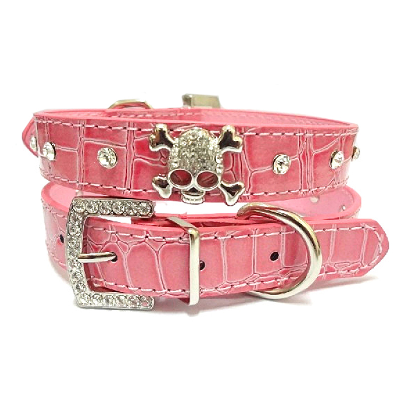 PU Leather Dog Collar Rhinestone Puppy Buckle Puppy Pet Collars Perro Led Small Dog Collars With Skull Pet Accessories 4 Colors(China (Mainland))