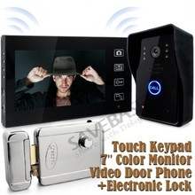"SAVEBASE 7"" Wireless Door Phone Doorbell Touch Key Color Video Ir Camera Electronic Lock(China (Mainland))"