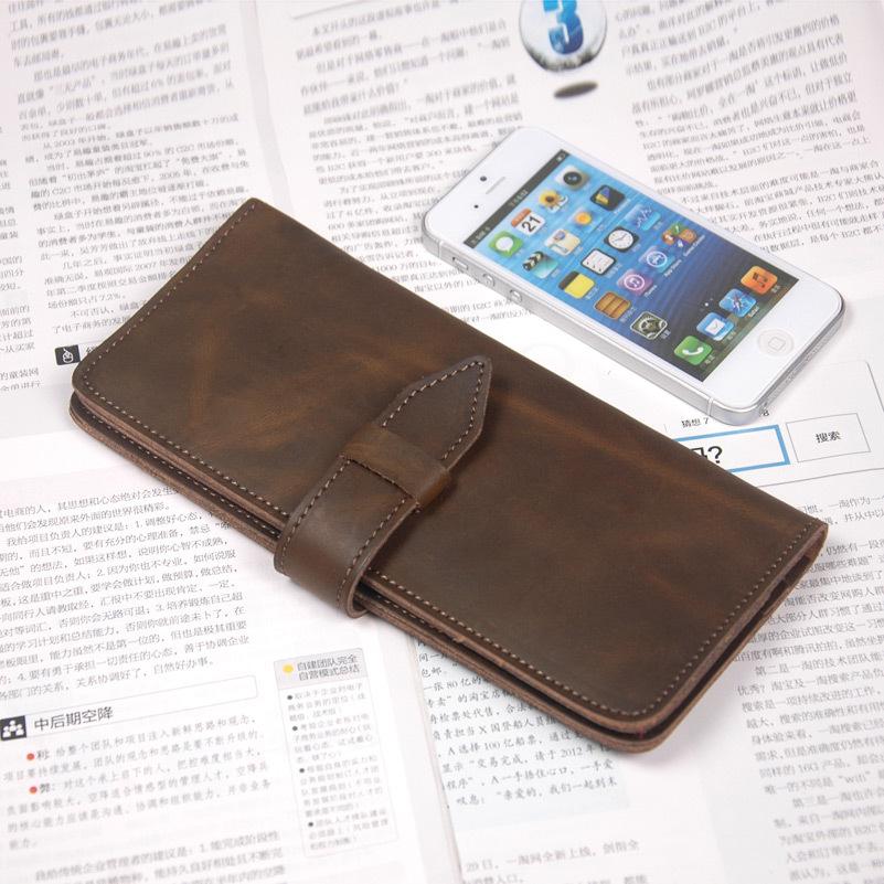 Crazy- horse leather wallet man long head layer genuine leather wallet card BaoChun twenty percent handmade purses(China (Mainland))