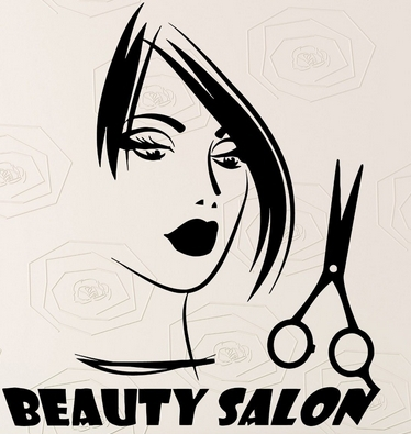 Hair Salon Vinyl Decal Sexy Girl Sicciors Beauty Salon