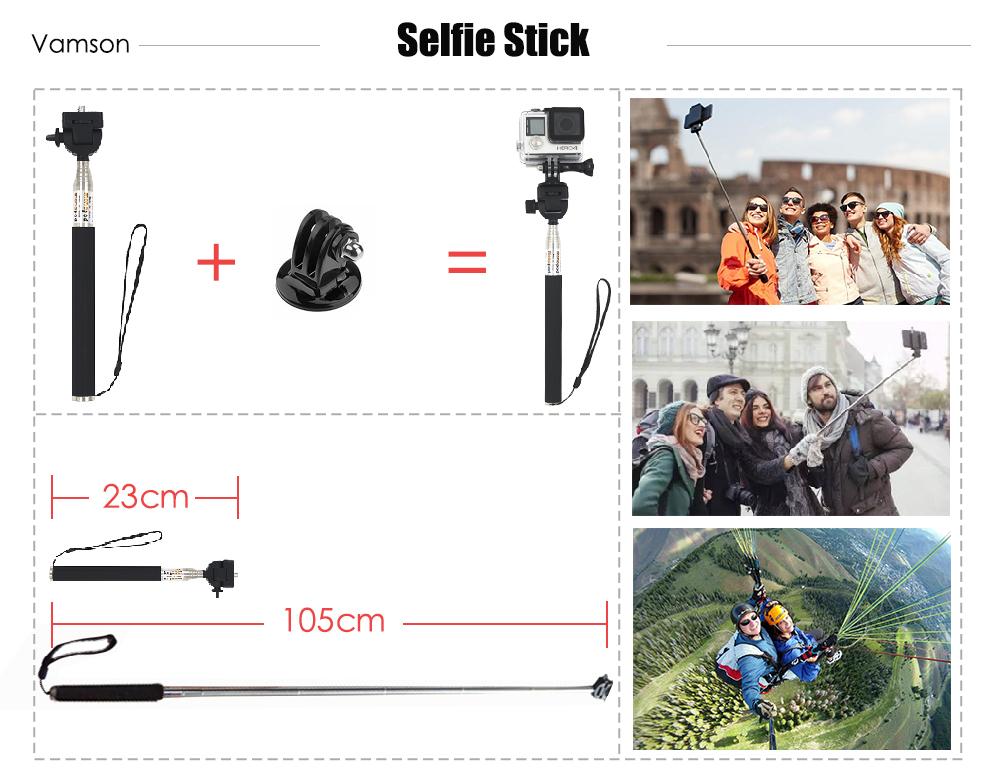 Gopro Hero 4 5 Accessories Set Gopro Kit Selfie Stick Monopod For Gopro Hero 5 4 3+ Xiaomi Yi SJCAM SJ4000 Camera VS27