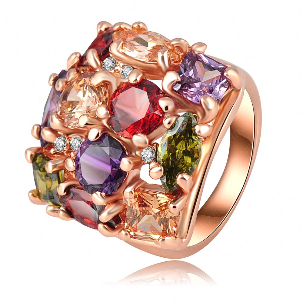 Colourful crystal ring 18k rose gold plate women rings for Decoration jewels mhw