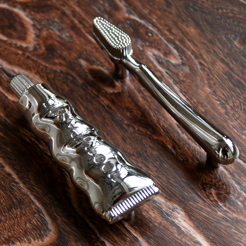 Modern Zinc alloy Toothbrush & Toothpaste shape Closet Door handle Drawers Pull Cabinet Cupboard handle knobs 76mm Chrome color(China (Mainland))