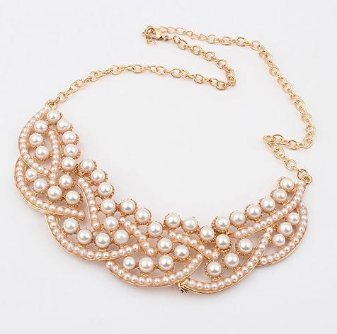 fancy pearl chunky chain necklace for women 2013 fashion collar necklace wholesale jewelry