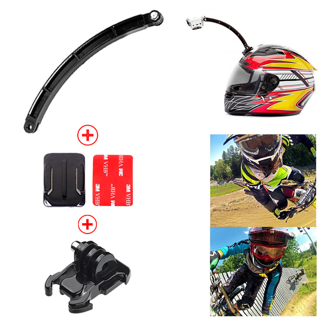 Action Camera Accessories Helmet Extension Arm Kit Self Photo+Curved Adhesive Mount For Gopro Hero 4 3 Xiao mi Yi SJCAM SJ4000