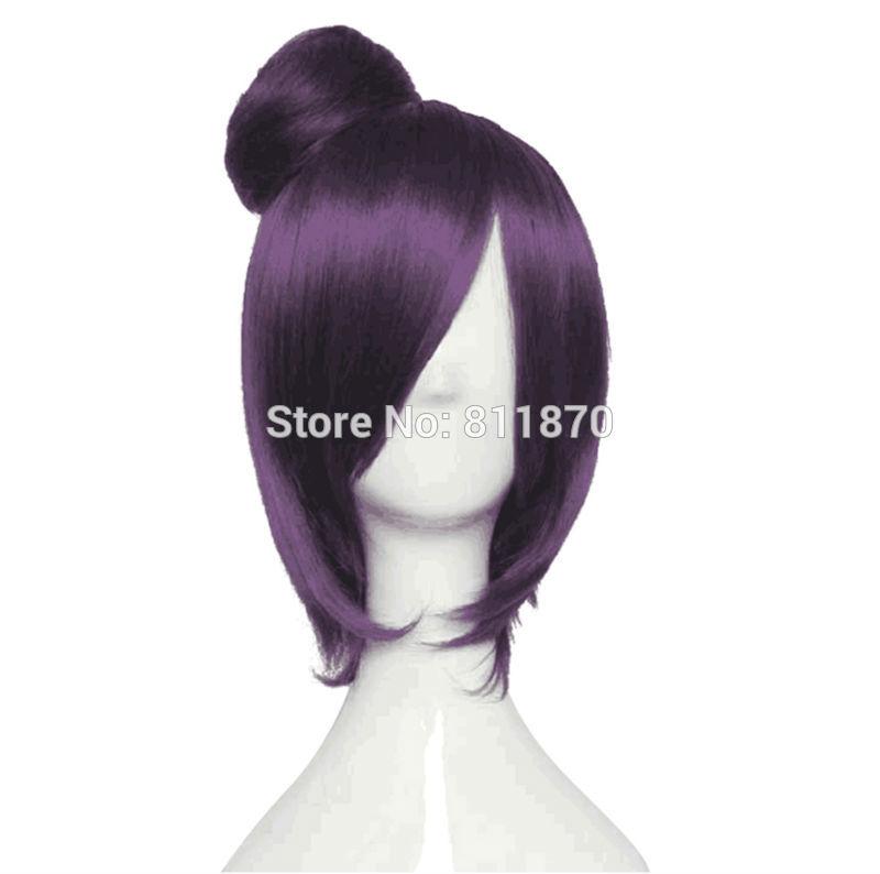 Naruto Cosplay Akatsuki Konan Short Purple Straight Hair Costume Wig<br><br>Aliexpress