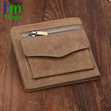 TEMON new arrival brand design crazy horse leather wallet vintage men wallets with coin purse genuine