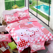 Cotton Bedding Sets Cartoon Hello Kitty 4pcs Bed Set Duvet Cover Bed Sheet Pillowcase Soft and Comfortable king queen size(China (Mainland))