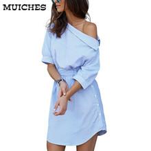 2017 Fashion one shoulder Blue striped women dress shirt Sexy side split Elegant half sleeve waistband OL girls beach dresses(China (Mainland))