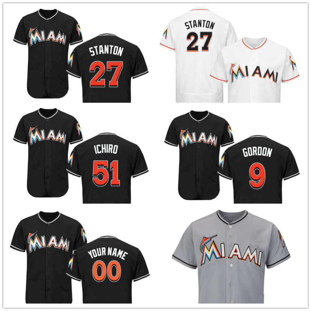 Stitched Customized Miami Marlins #27 Giancarlo Stanton #51Suzuki Ichiro #9 Dee Gordon Black Gray White Flexbase Player Jerseys(China (Mainland))